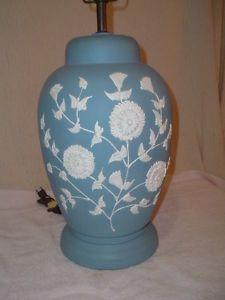 Vintage-Blue-White-Wedgwood-Like-Lamp-Large-Cameo-Jasperware