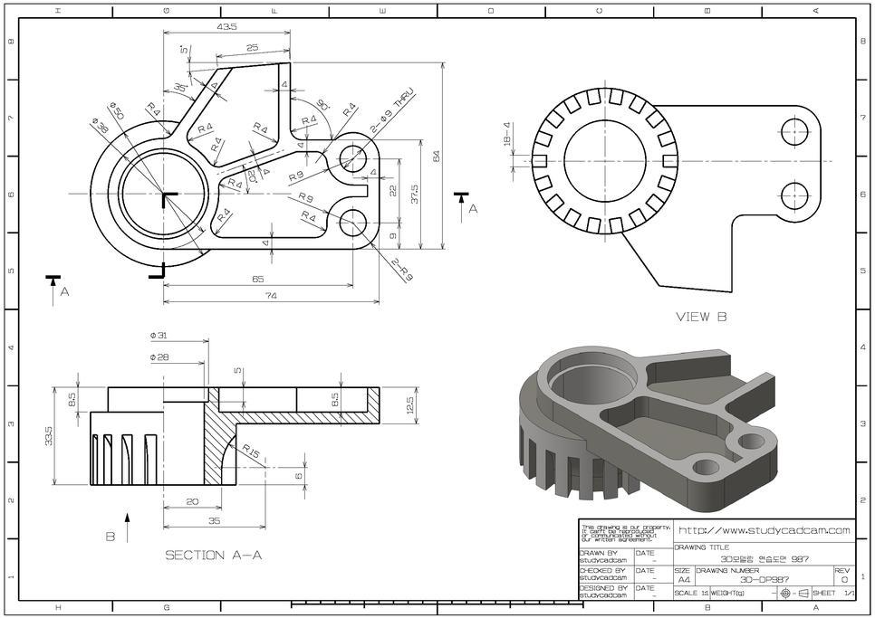학습자료 3d 연습도면 3d모델링 연습도면 987 네이버 블로그 Mechanical Design Mechanical Engineering Design Autocad Tutorial