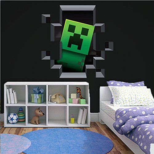 D Minecraft Style Wall Decal Poster Sticker Room Bedroom Https - 3d minecraft wall decals