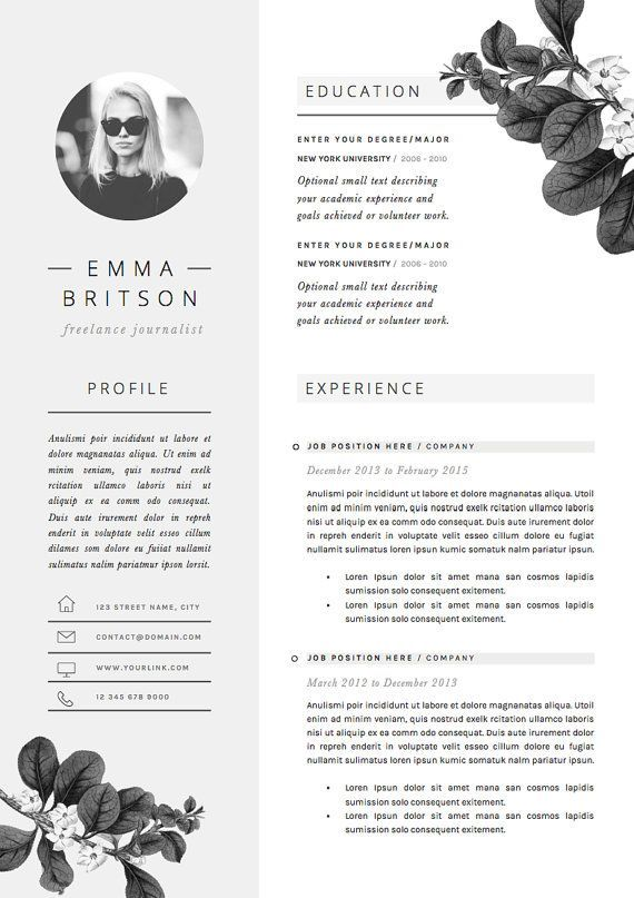 Resume Template Page Cv Template Cover Von  CiCd