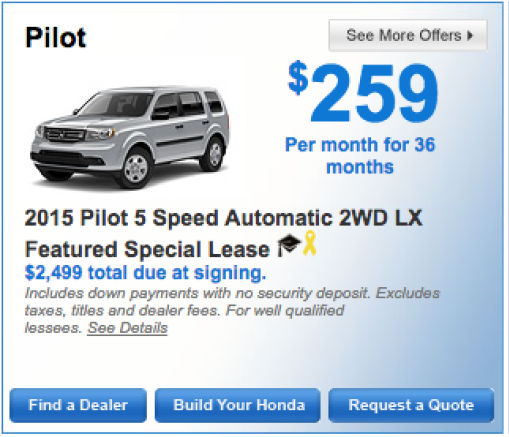 2015 Honda Pilot 5 Speed Automatic 2WD LX Special Lease