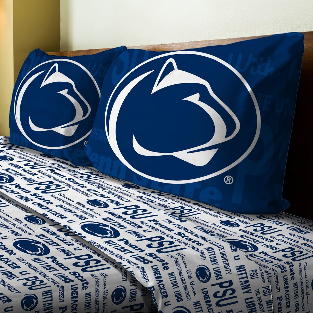 One Ncaa Penn State Nittany Lions Full Size Flat Sheet Ed And Two Standard Pillowcases