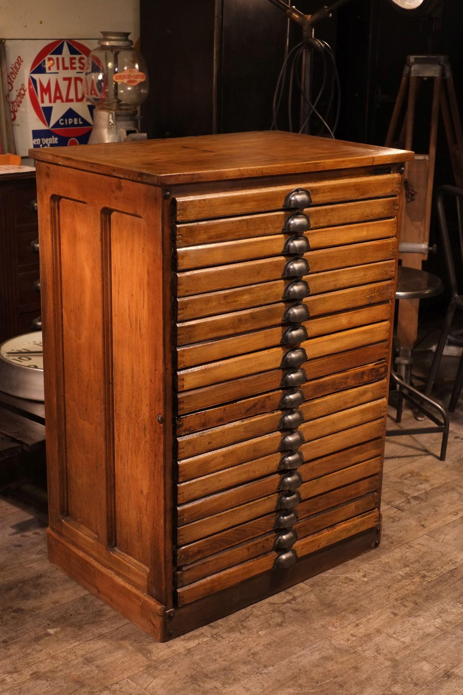 Meuble De M Tier D Imprimerie Ancien En Bois Massif Furniture  # Muebles Ficheros