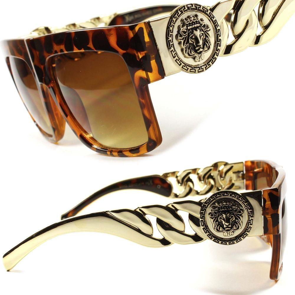 Gold Link Chain Swag Hip Hop Rapper Tortoise Mens Womens Aviator ...