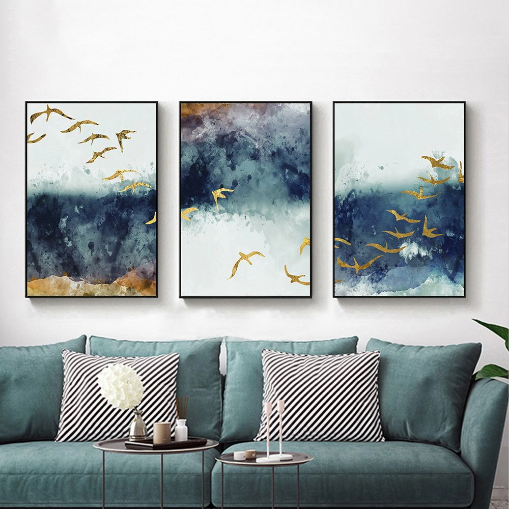Photo of Joe&Andy Studio Abstract Flying Bird & Sky Canvas Print, Wall Art, Poster, Airbnb Home Decor. Sofa/Cafe/Office/Hotel Painting, Housewarming Gift. 3pcs. Unframed. (50 x 70 cm / 19.7 x 27.6 in)