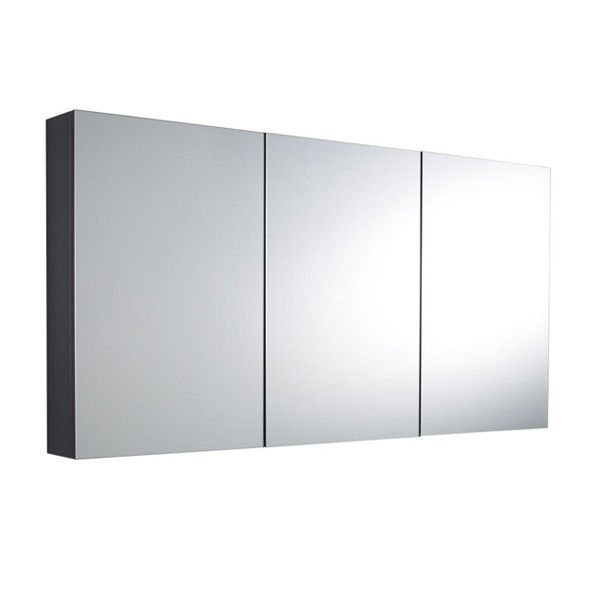 Hudson Reed Quartet High Gloss Graphite 3 Door Mirror Cabinet