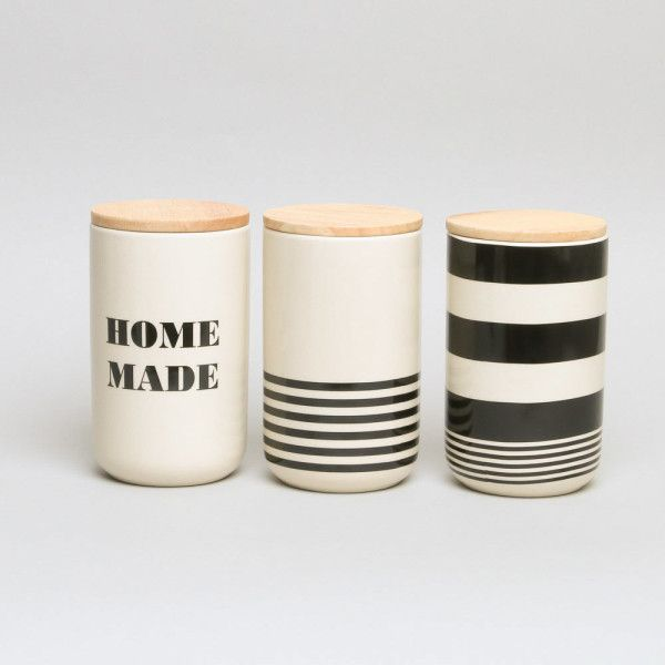 Monochrome Storage Jars ($26) ❤ liked on Polyvore featuring home, kitchen & dining and food storage containers