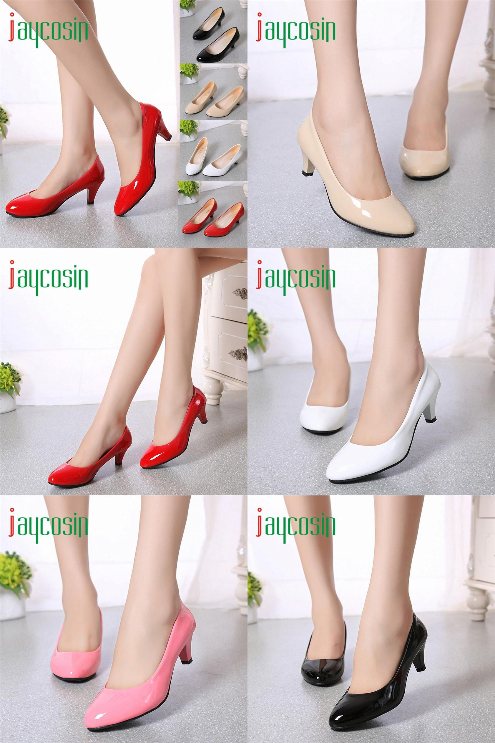 high quality office work. [Visit To Buy] High Quality Nude Shallow Mouth Women Office Work Heels Shoes Elegant O