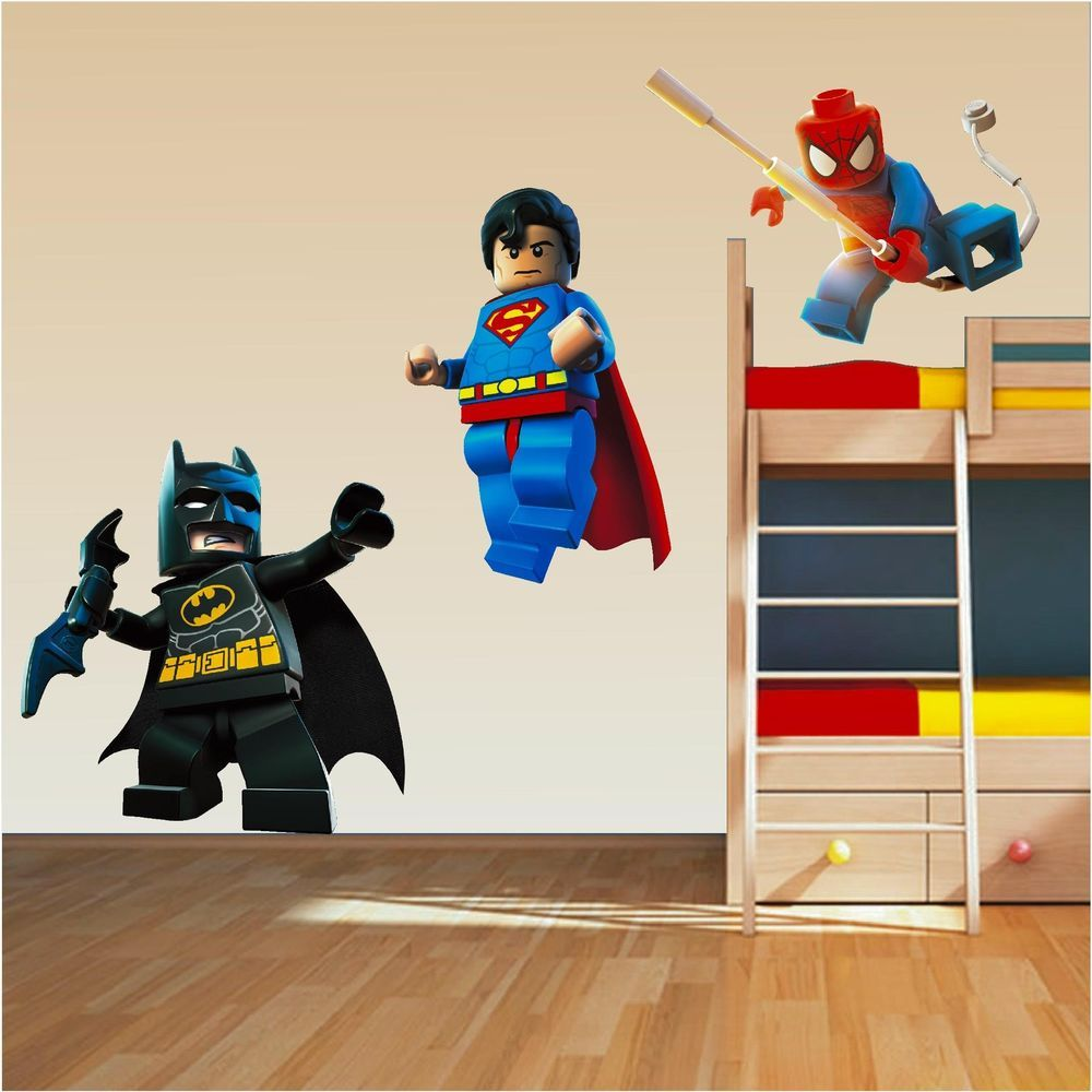 Lego Superhero Set Superman Spiderman Batman Wall Stickers Decal - Superhero wall decals for boys