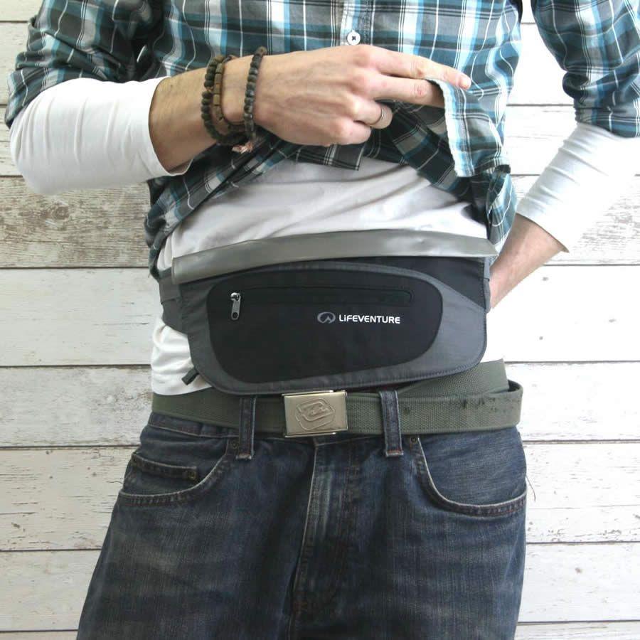 Lifeventure Canvas Belt Black Security Money Belt with Hidden Zip Pocket