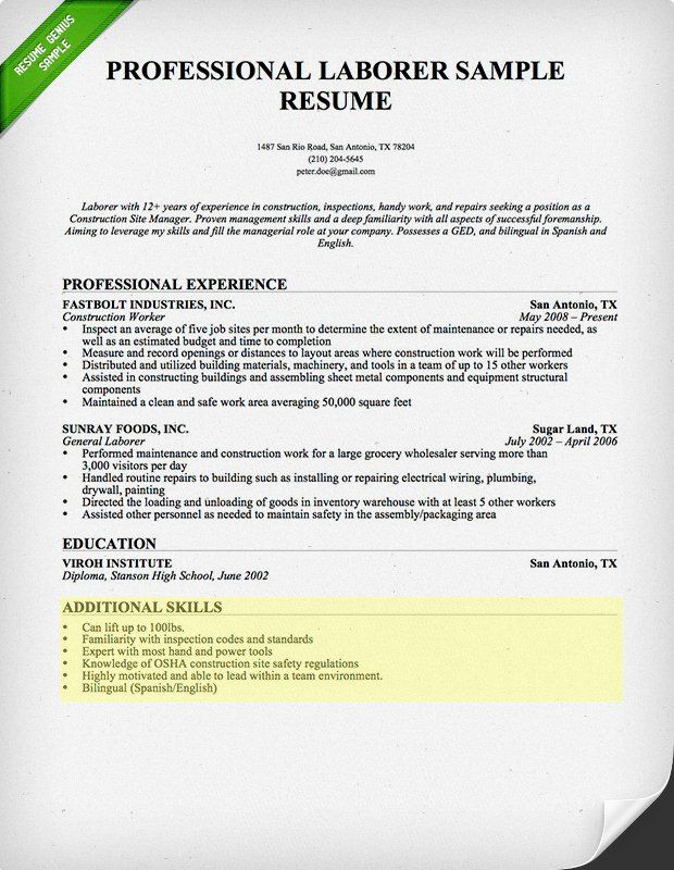 Laborer Resume Skills Section | Ultimate Resume | Pinterest | Resume ...