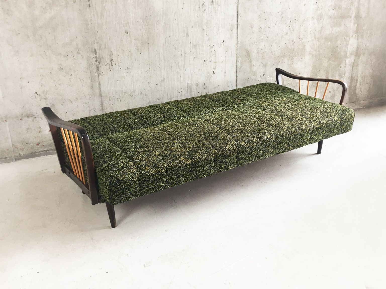 Sofa Retro 50er German Mid Century Sofa Bed With Original Green Upholstery Layer