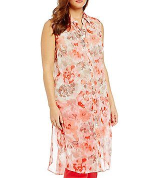 7b91c1aa074 Vince Camuto Plus Floral Wash Side-Slit Long Tunic