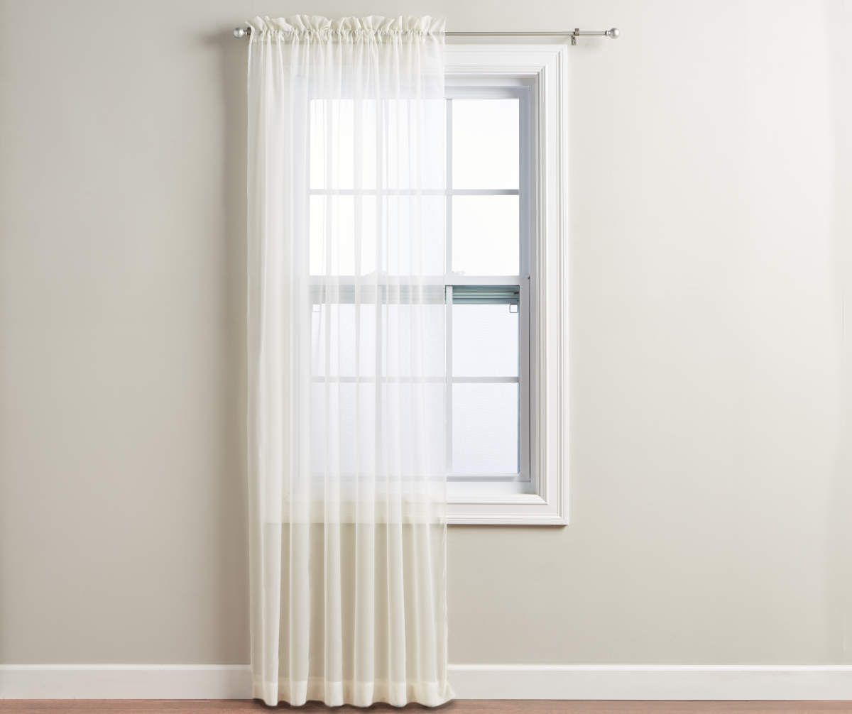 Just Home Ivory Voile Sheer Curtain Panel 84 Big Lots In 2020 Curtains Panel Curtains Sheer Curtain Panels