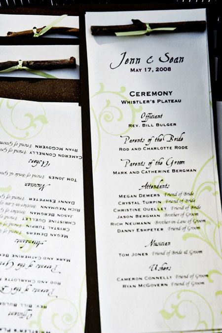 Small Family Wedding Ideas   ... the ceremony programs were tied ...