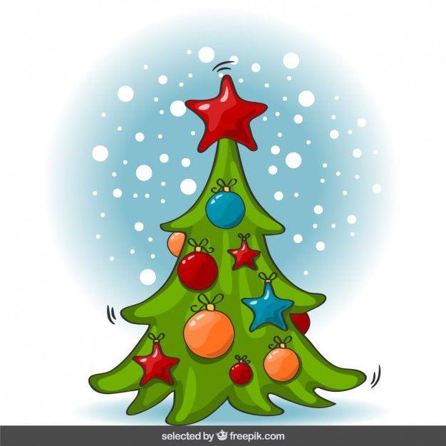 rbol de navidad de dibujos animados vector gratis - Dibujo Arbol De Navidad