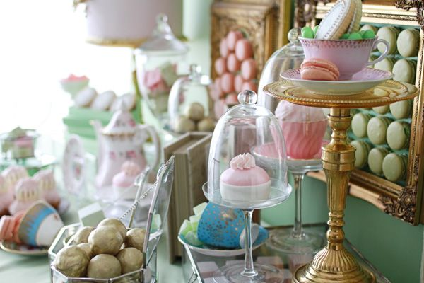 Laduree inspired dessert table!!  tea party, gold pink and turquoise, elegant vintage party