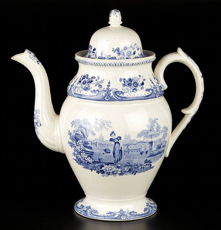 English Staffordshire Pottery Pearlware Coffee Pot And Cover