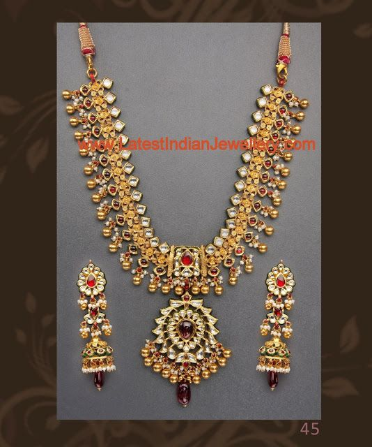 Designer Heavy Antique Gold Necklace set Antique gold Gold