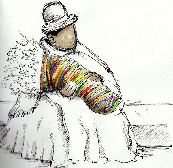 Mamitas de Bolivia Dibujo del artista Argentino Nicols Masllorens