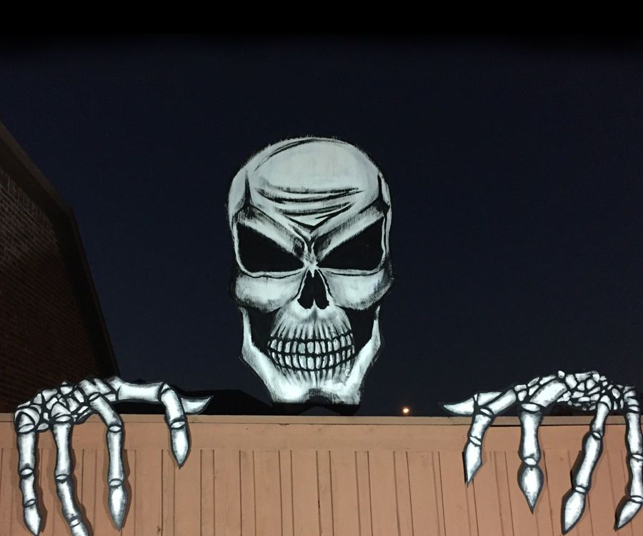 Giant 6 Foot Skull and Skeleton Hands | Halloween skull ...