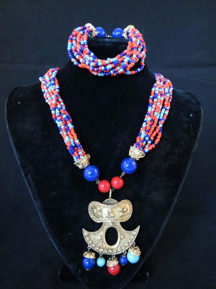 VTG 70's KJL Kenneth Jay Lane Tribal Pre-Columbian Necklace & Bracelet #kENNETHjAYlANE