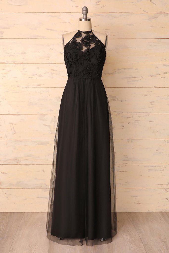 Black Halter Dress | Brautjungfern kleider, Spitzenkleider ...