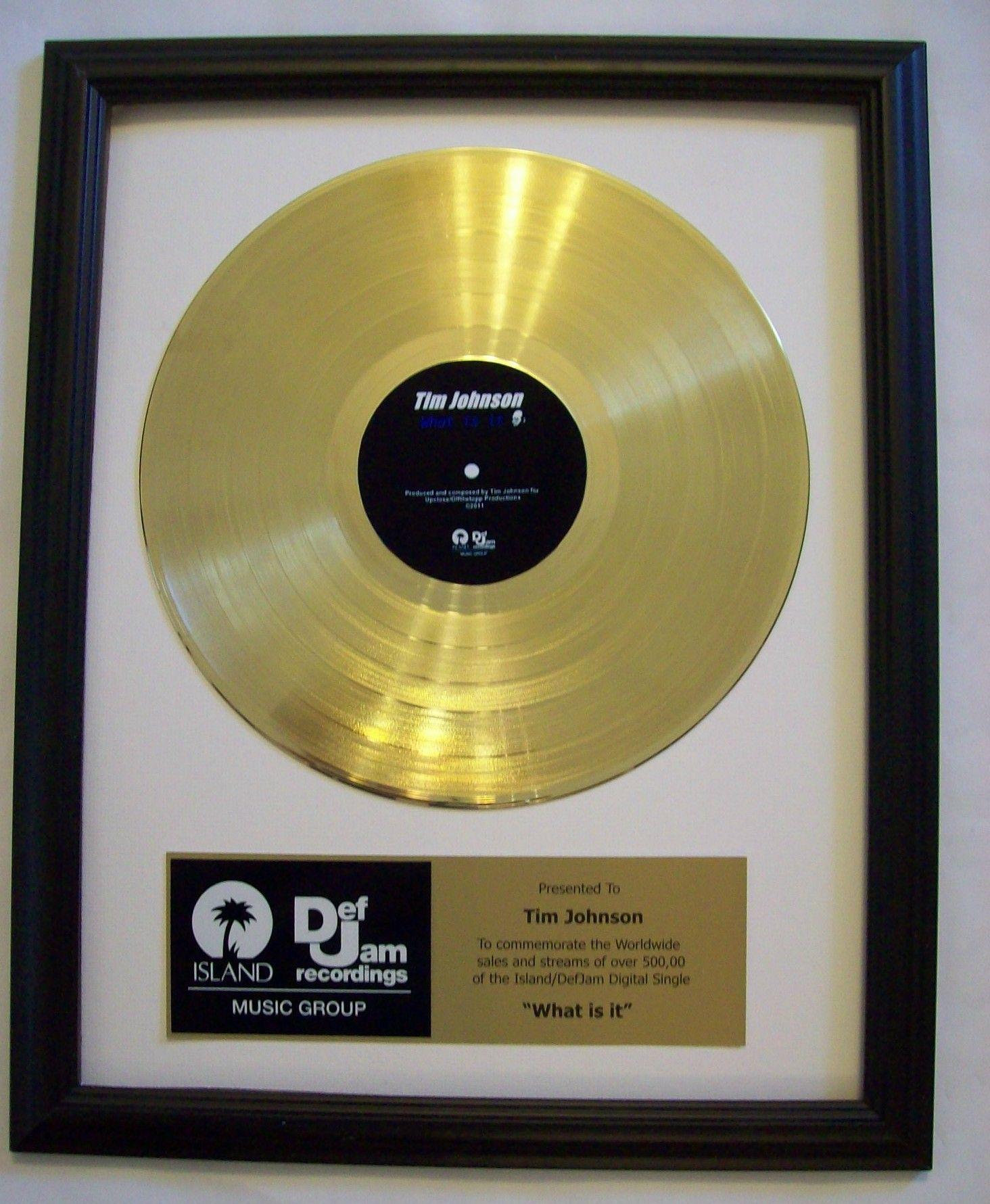 Gold Lp Record Trophy Award In 2020 Custom Plaques Custom Awards Company Logo Design