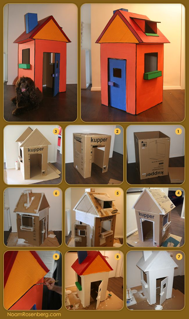 how to make a cardboard house preschool crafts pinterest spielh uschen aus karton. Black Bedroom Furniture Sets. Home Design Ideas