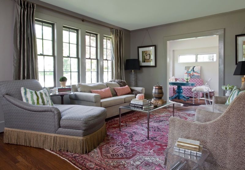 The large bank of windows in the living room offers plenty of bright, natural light all day.