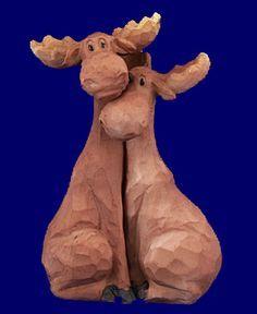 hugging moose couple figurine home decor - Christmas Moose Home Decor
