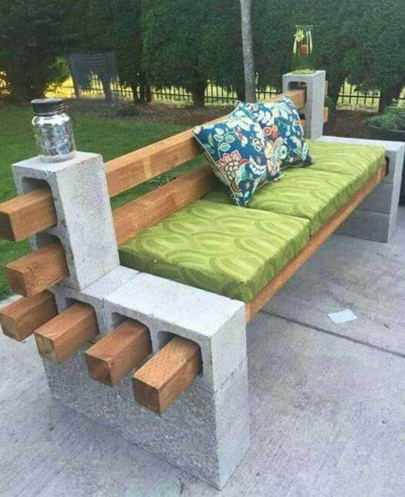 4 X And Cinder Block Bench For Fire Pit Area Without Back Rest Though
