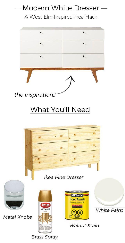 Modern White Dresser: A West Elm Inspired Ikea Hack | Pine dresser ...