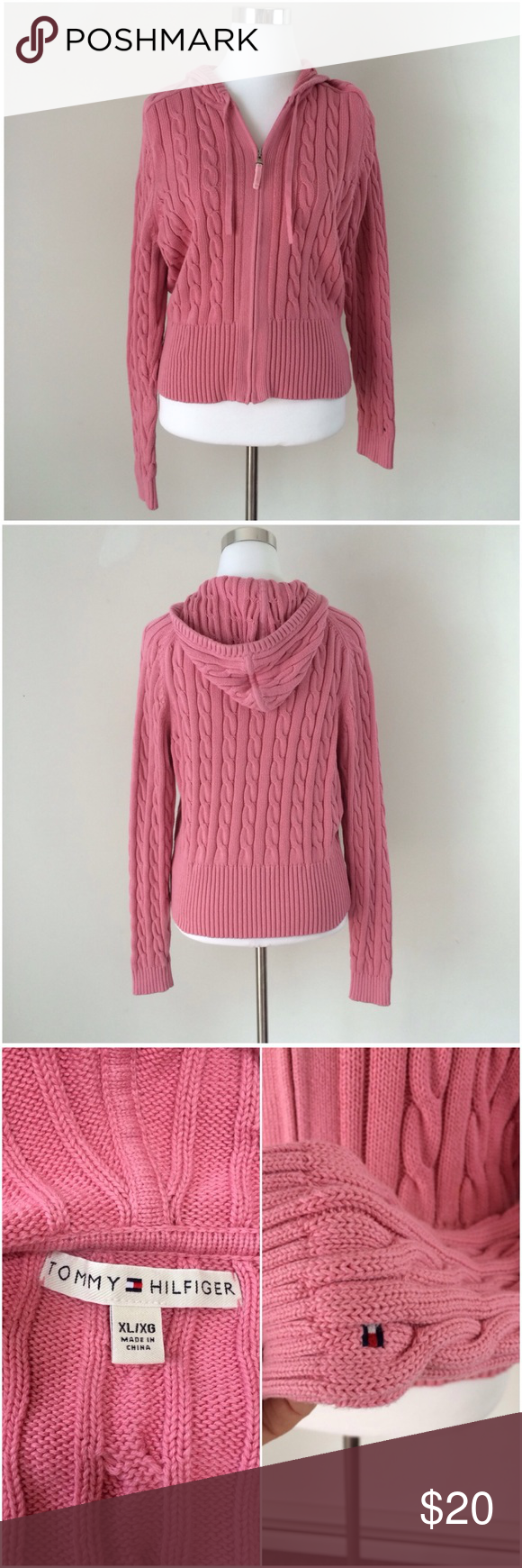 Tommy Hilfiger Pink Zip Up Hooded Sweater | Pink, Logos and Tommy ...