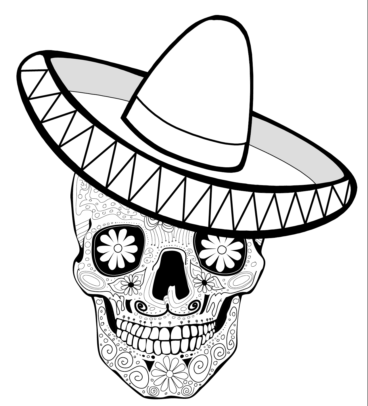 Coloring Page, Día de los Muertos, Calaca with Sombrero