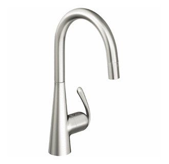 Grohe 32226sd0 Stainless Steel Ladylux3 Pro Pull Down High Arc Kitchen Faucet With 2 Function Locking Sprayer Faucet Com High Arc Kitchen Faucet Kitchen Faucet Stainless Steel Faucets