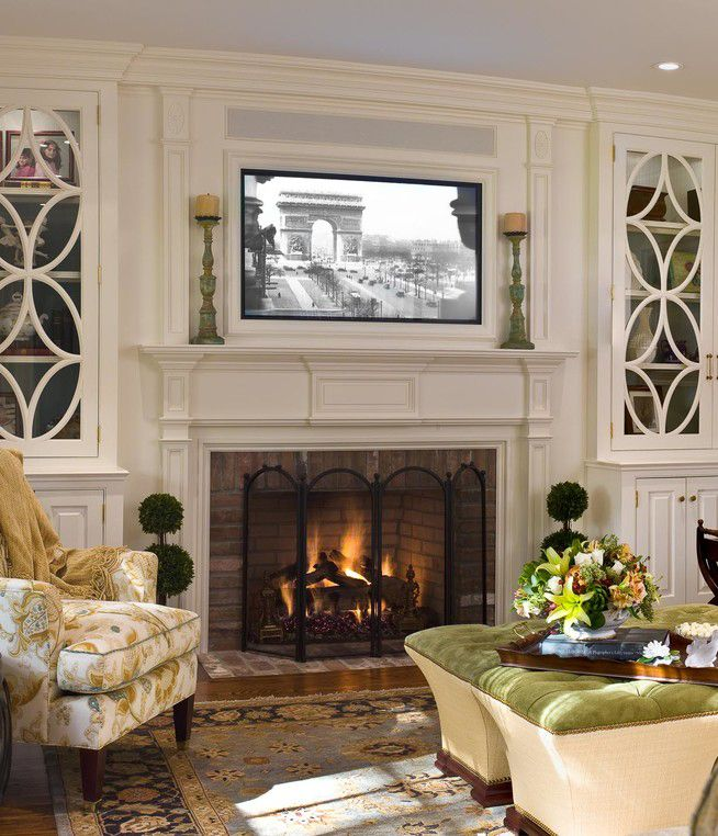 Traditional Living Room Tv placing a tv over your fireplace - a do or a don't | tvs, living