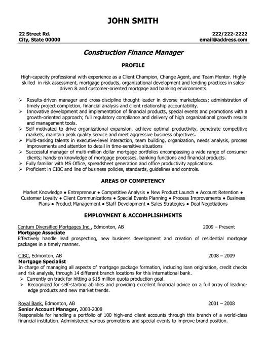 Click Here to Download this Construction Finance Manager Resume - mortgage resume objective