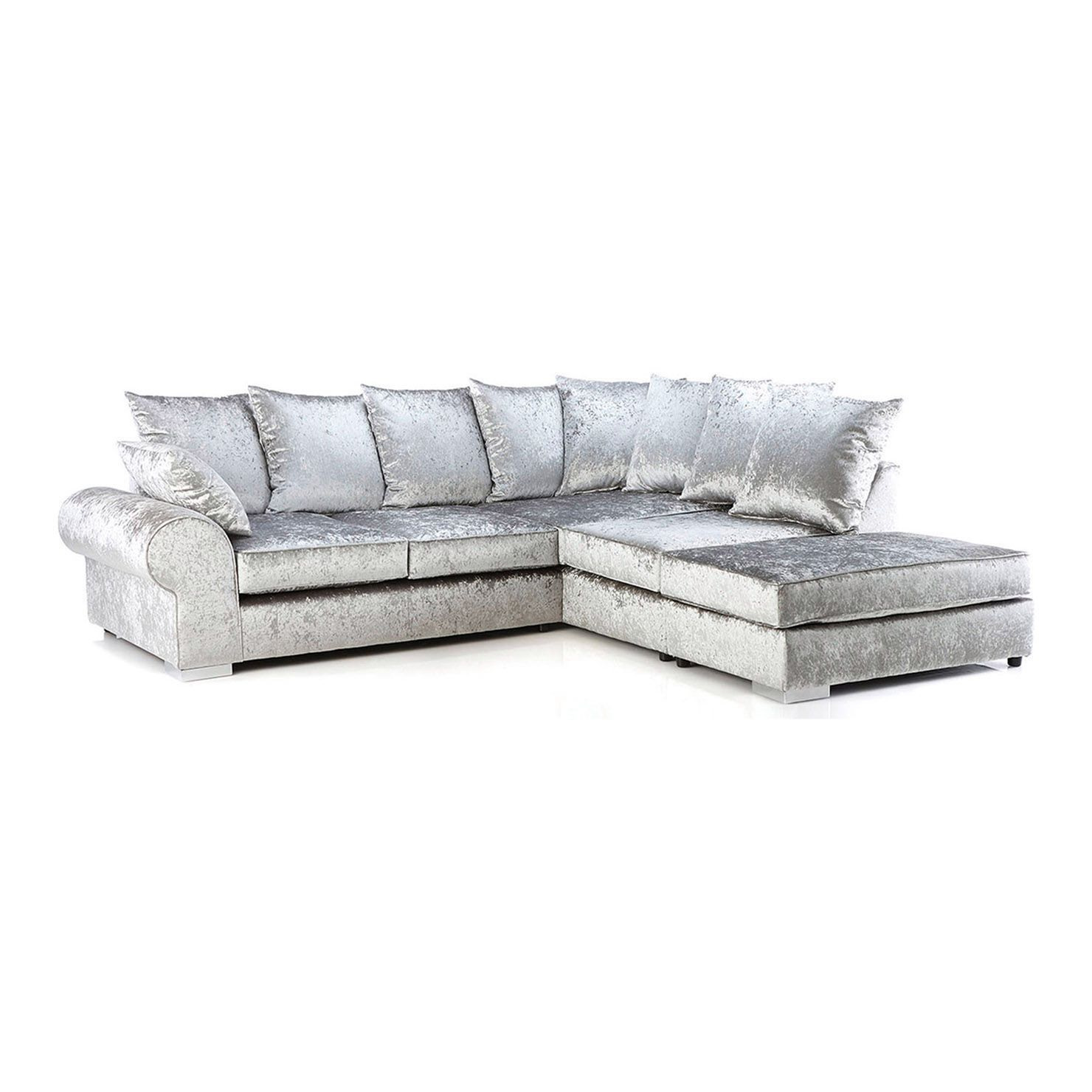 Regent Velvet Corner Sofa Silver Right Hand