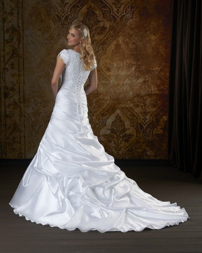 White Satin Wedding Dress With Ruched Train and Corset Lacing