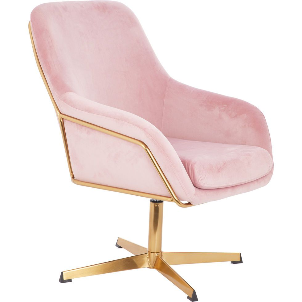 Pink Velvet Swivel Chair 10x10cm - Chairs - Furniture - Home