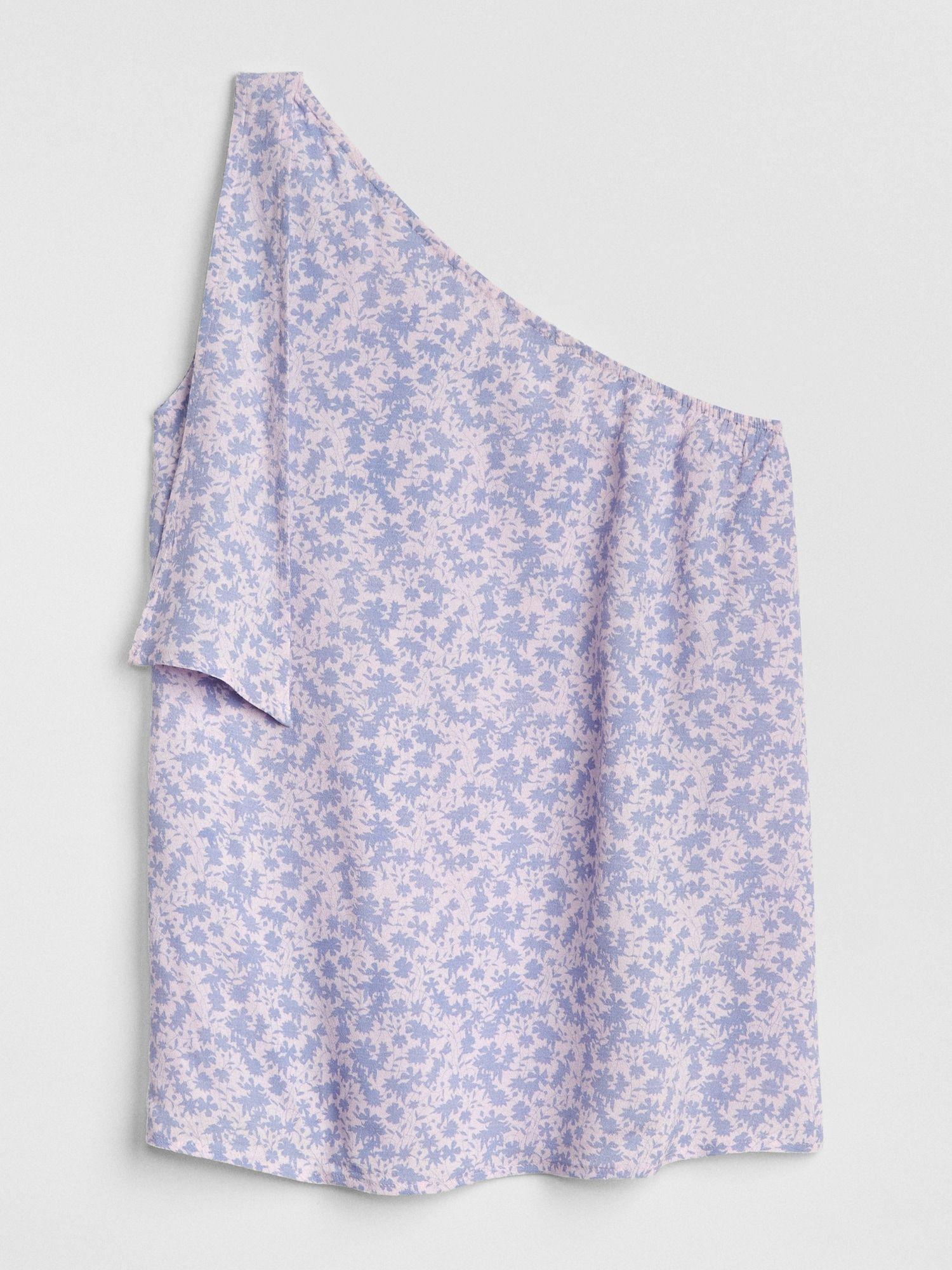 759492a5634 Print One-Shoulder Tie Top