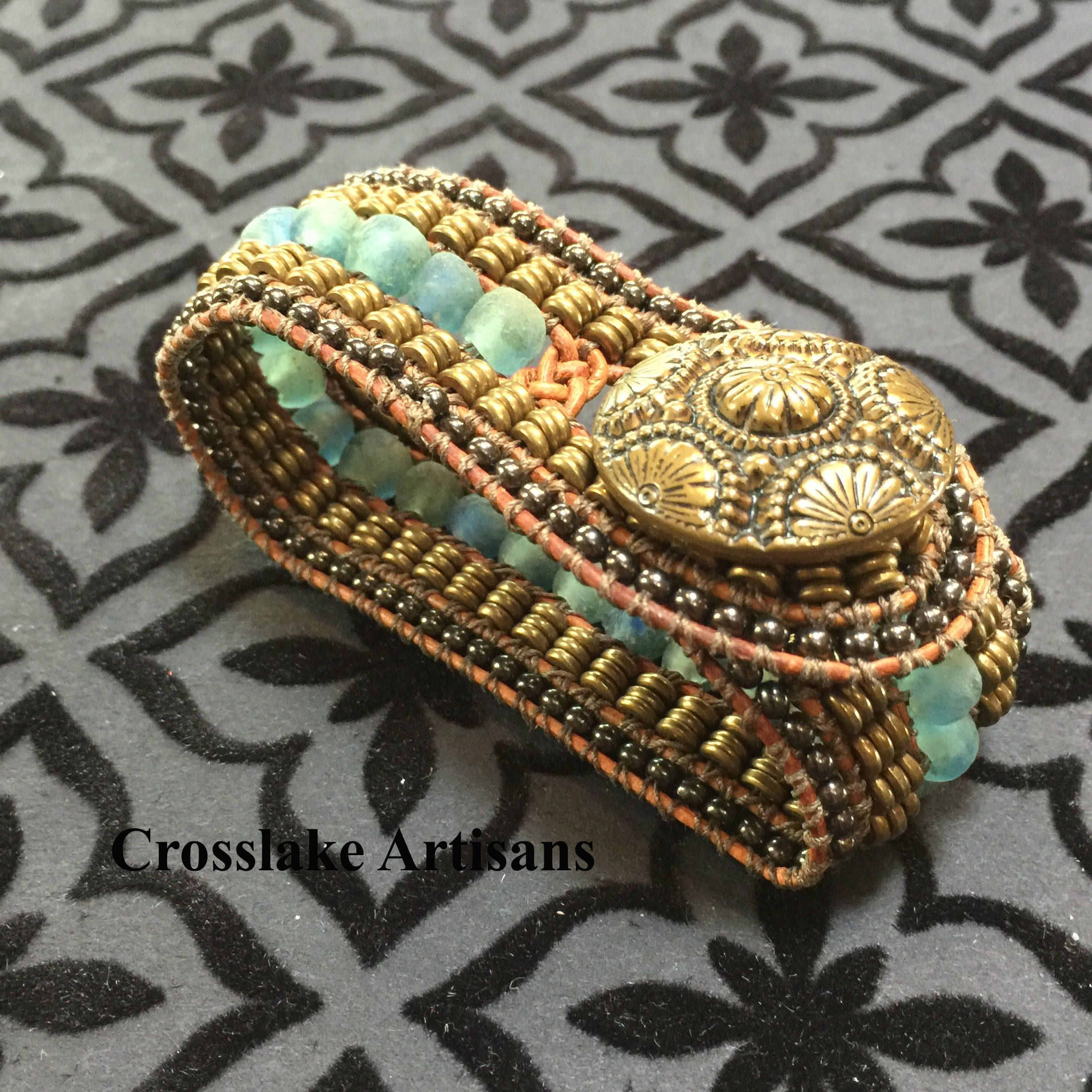 Five row cuff bracelet featuring beach glass and bronze