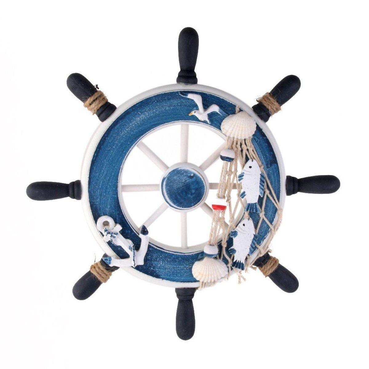 Wanddeko Steuerrad aus Holz (Blau) | Perfekte Dekoration für ein ...