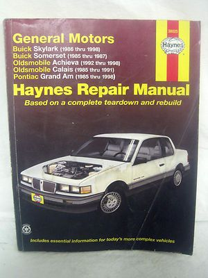 haynes pontiac grand am olds achieva buick skylark 1985 thru 1998 rh pinterest com 87 Buick Skylark Wagon 1993 Buick Skylark