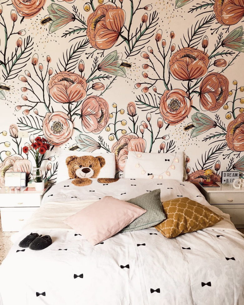 Anemone Fall Removable Wallpaper It S A Very Good Quality Matte Material Its Structure Reminds Of A Cloth Fabric I Fall Wallpaper Mural Wallpaper Wall Murals