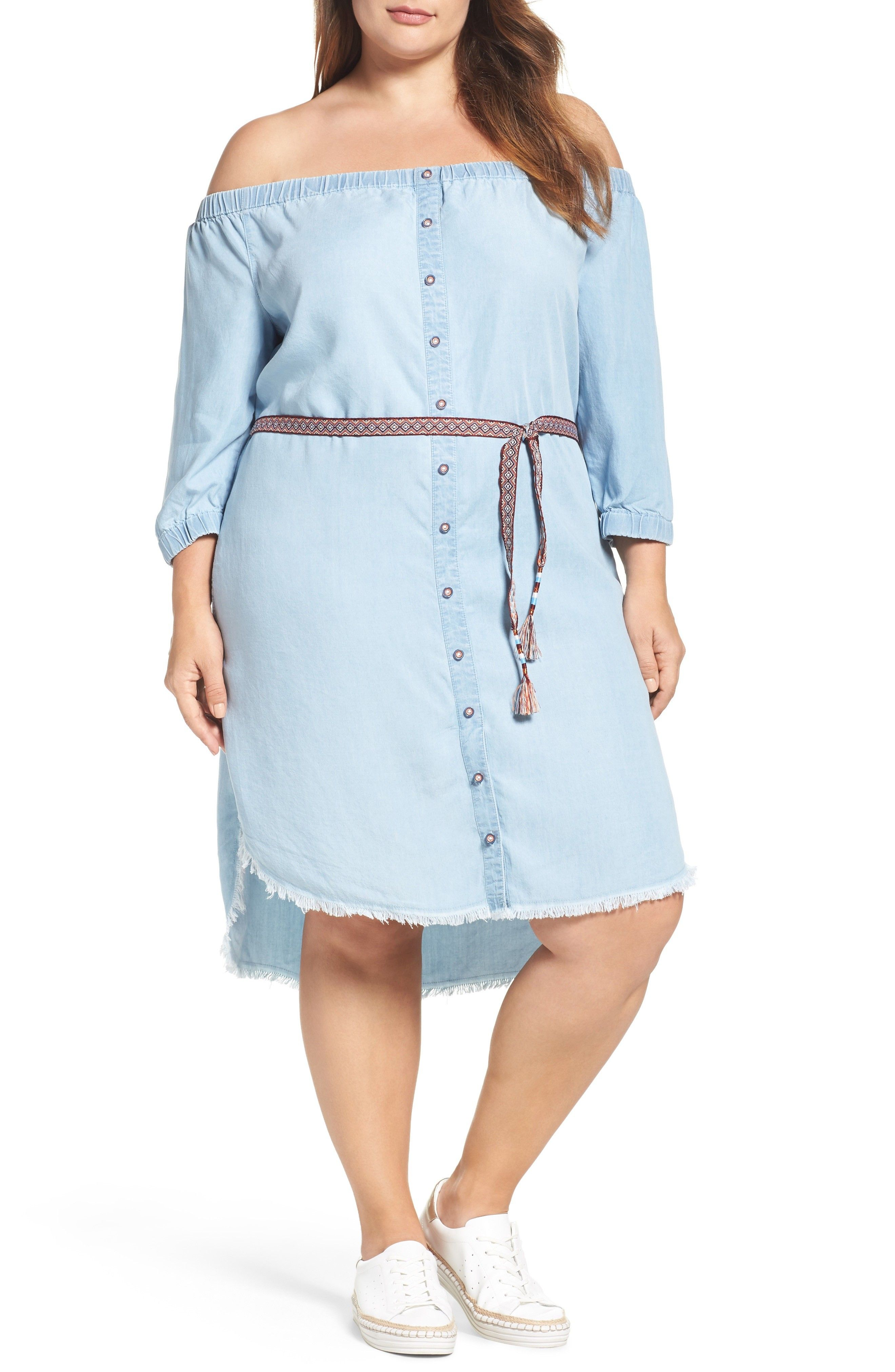 173908d5412e Plus Size Chambray Off the Shoulder Shirtdress