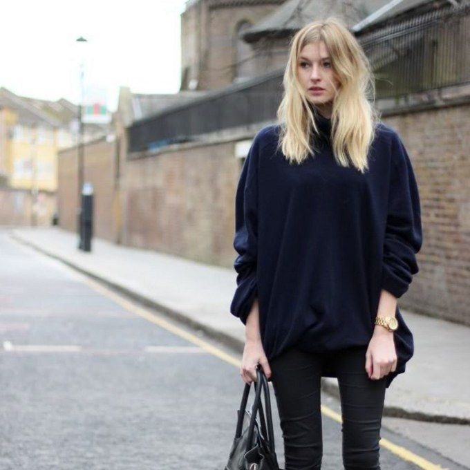 skinny jeans with a chunky sweater from Camille Over the Rainbow