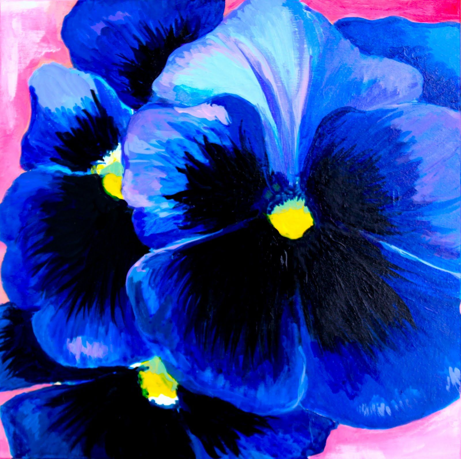 Acrylic Pansy Painting Google Search Flower Painting Floral Painting Flower Art
