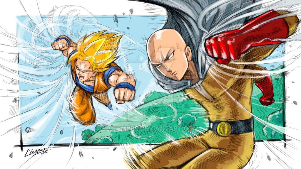 Goku Vs Saitama By Clemper By Https Www Deviantart Com Clemper On Deviantart Goku Vs Saitama Goku